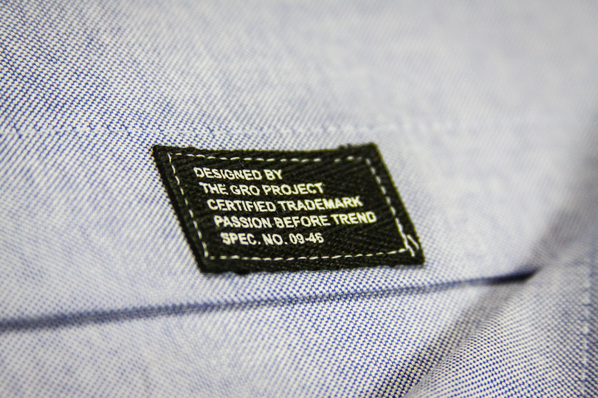 GRO Project printed twill tag