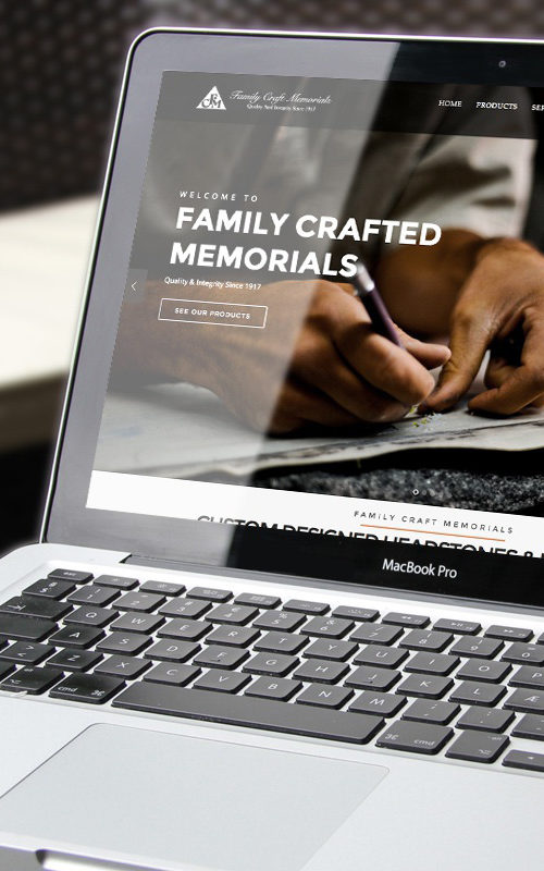 Family Craft Memorials - Web Design - Home page